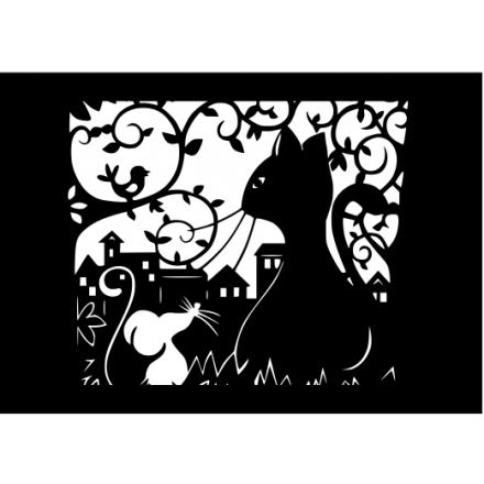 Резная картина Кот и мышка