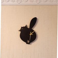 Настенные часы из дерева Кот