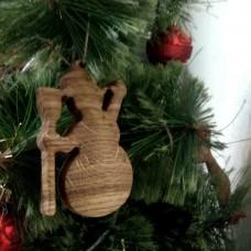 """Ёлочная игрушка из дерева """"Снеговик"""""""