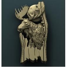Резное 3D панно из дуба Лось