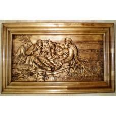 Картина из дерева Охотники на привале
