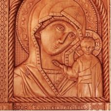 Резная икона Казанской Божьей Матери