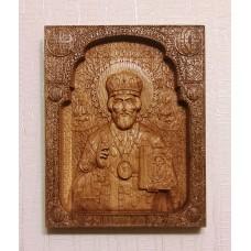Икона из дуба Николай Чудотворец