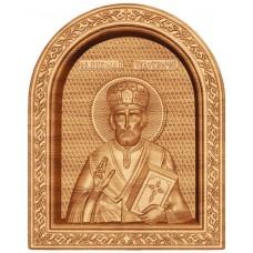Икона из массива дуба Николай Чудотворец