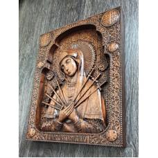 Резная икона Божья Матерь Семистрельная