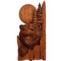 Резное объёмное панно из дерева Медведь