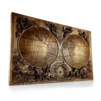 Резное панно Старинная карта земли
