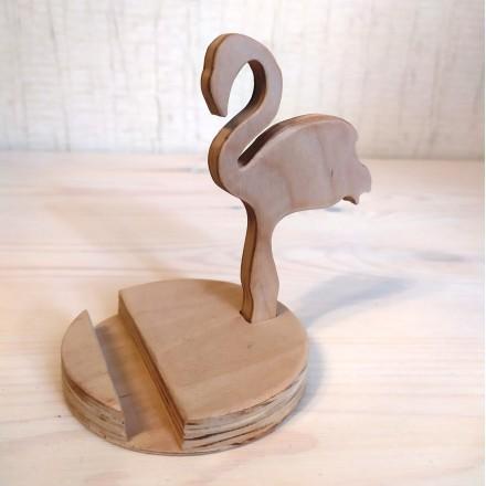 Деревянная подставка для телефона Фламинго