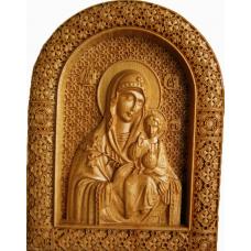 Резная икона Божьей Матери Неувядаемый цветок